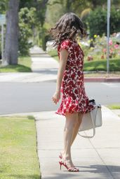 Emmy Rossum is Hot in Red Glasses and Matching Dress - Out in Los Angeles - July 2014