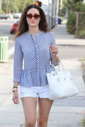 Emmy Rossum Leggy in Shorts - Leaving Milk Studio