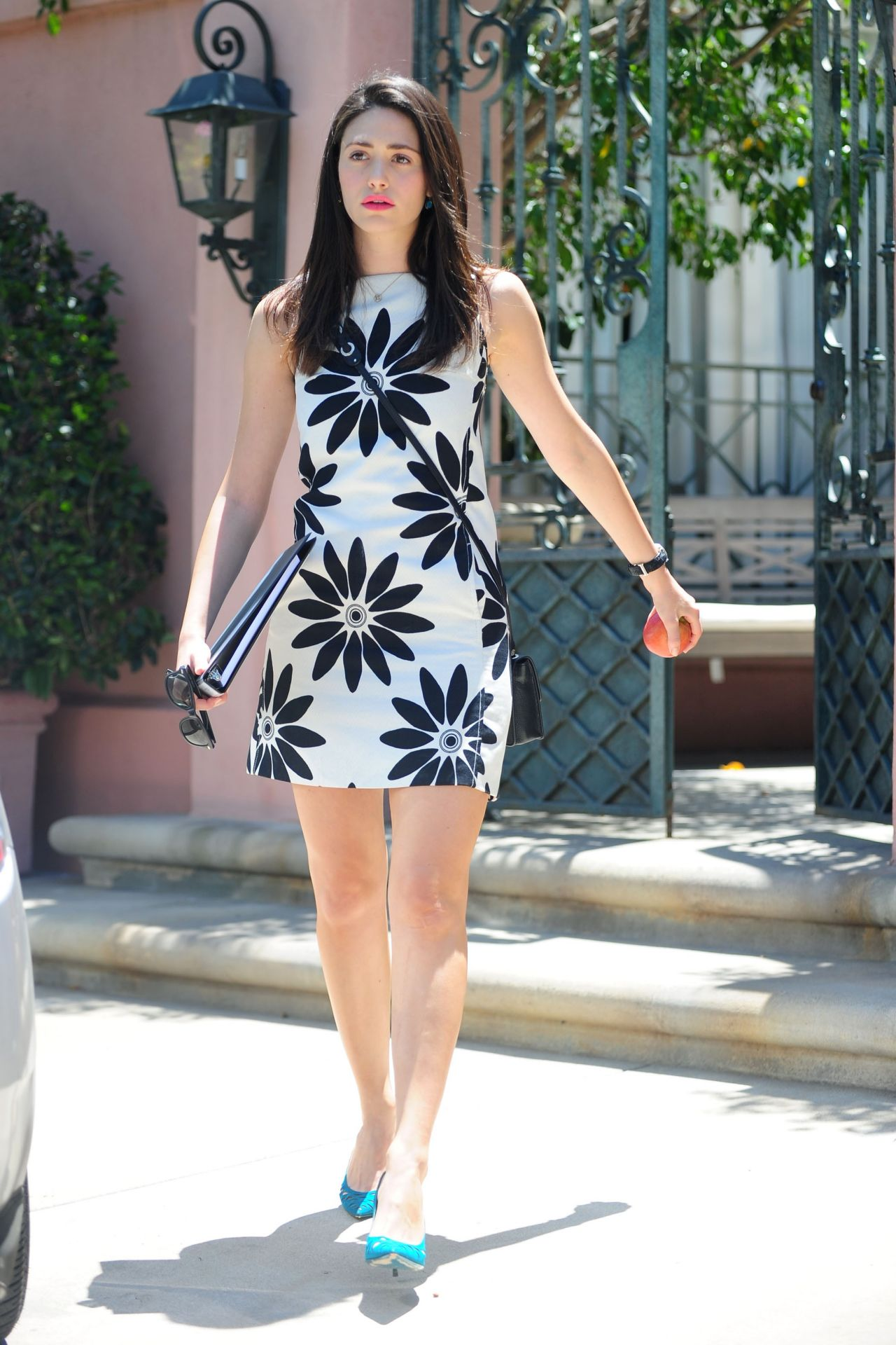 Emmy Rossum Shows Off Her Long Legs In Mini Dress