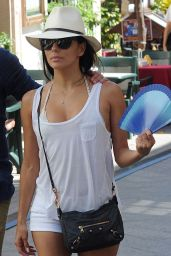 Eva Longoria Shows Off Her Legs in Tiny White Shorts - Shopping in Marbella, July 2014