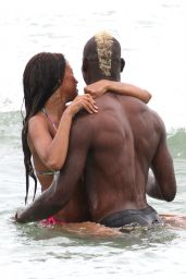 Fanny Neguesha in a Bikini & Mario Balotelli at the Beach in Miami - July 2014