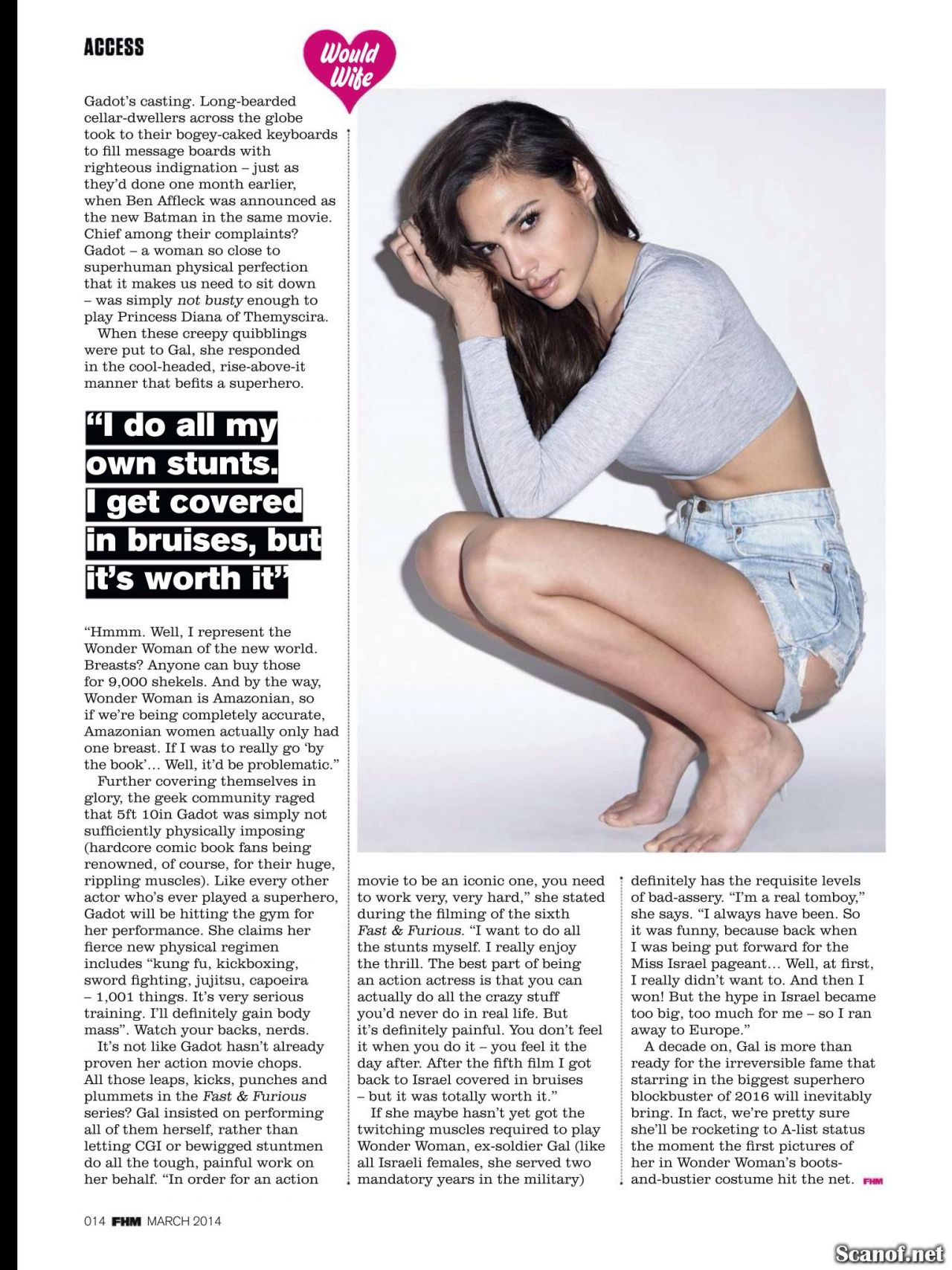 Gal Gadot Fhm Magazine Uk March 2014 Issue