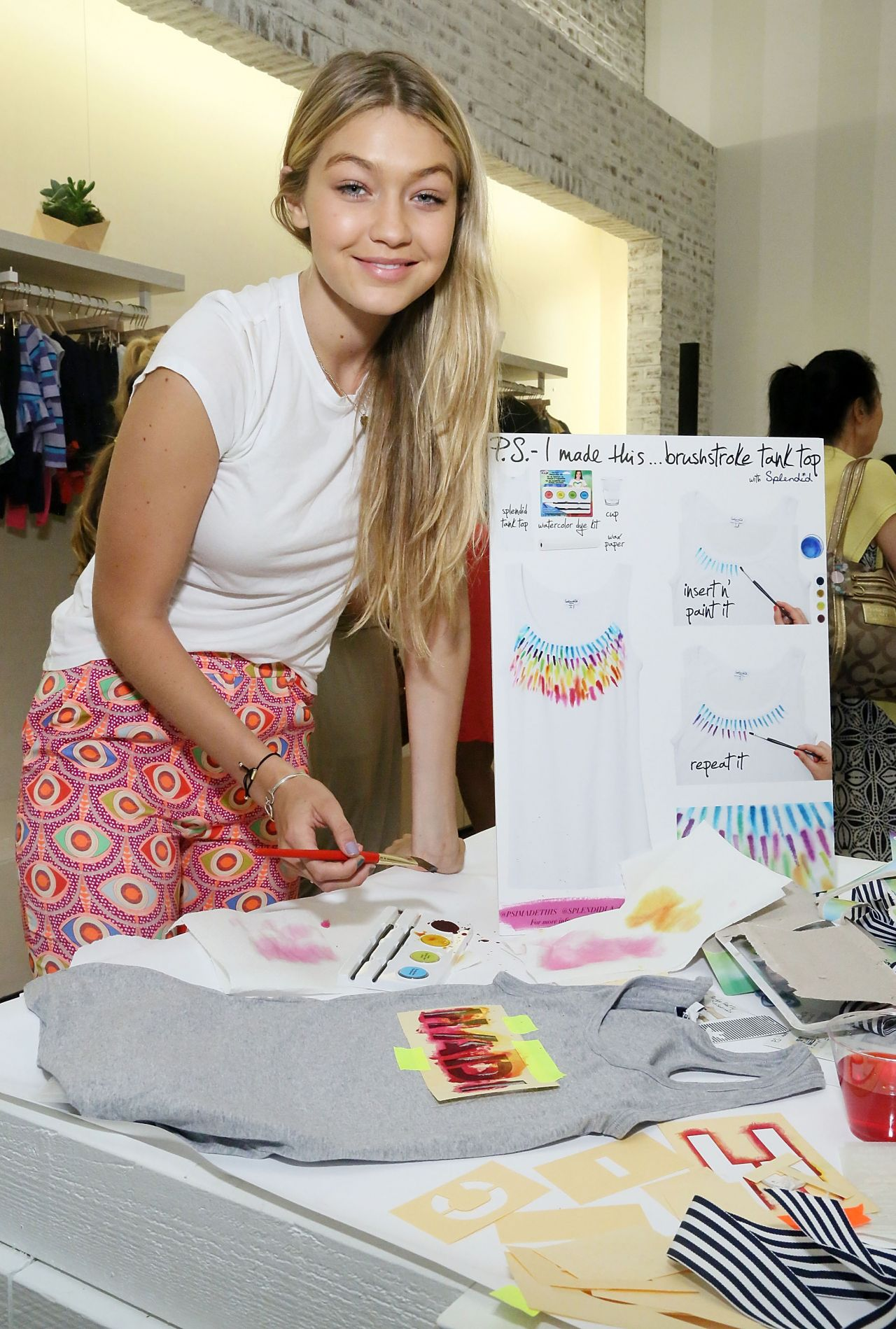 Gigi Hadid at Splendid Tanktastic Summer Party in NYC, July 2014