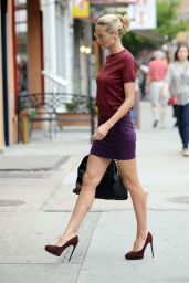 Heidi Klum Wears Mini Skirt - Out in New York City - July 2014