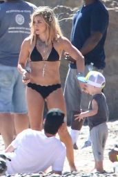 Hilary Duff in a Bikini on the Set of a Music Video - Malibu, July 2014