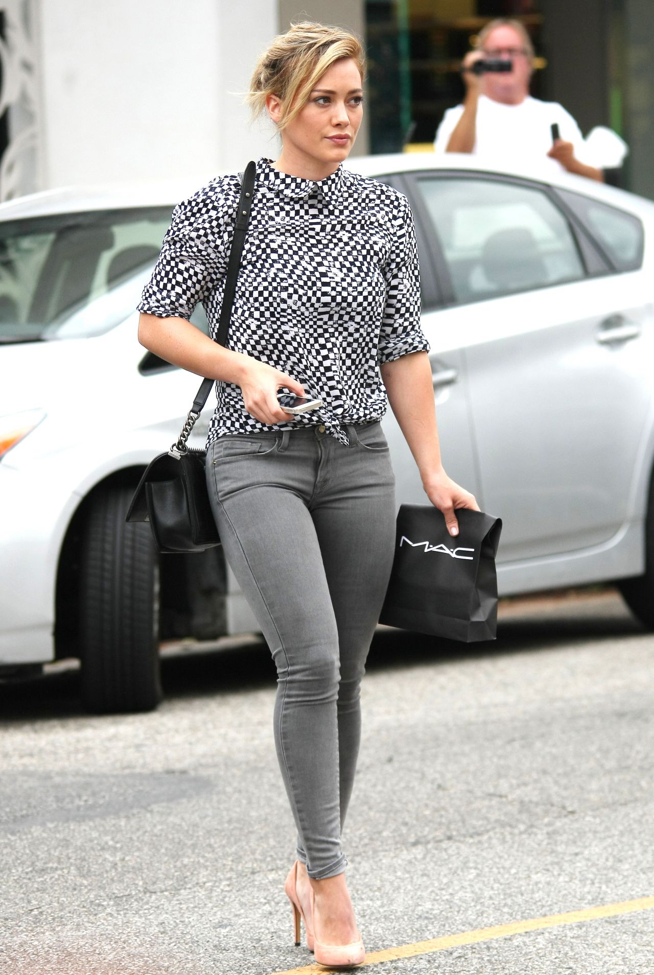 Hilary Duff In Jeans At Mac Cosmetics In West Hollywood July 2014