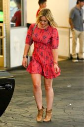 Hilary Duff in Mini Dress at E Baldi Restaurant in Beverly Hills - July 2014