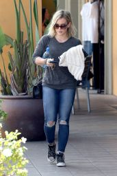 Hilary Duff in Ripped Jeans - Out in Los Angeles - July 2014