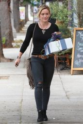 Hilary Duff in Ripped Skinny Jeans - Going to a Party in Sherman Oaks - July 2014