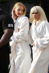 Iggy Azalea & Rita Ora on Set of the Black Widow Music Video - July 2014