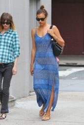 Irina Shayk in Summer long Dress - Out in New York City - July 2014