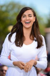 Irina Shayk Leggy in White Dress -