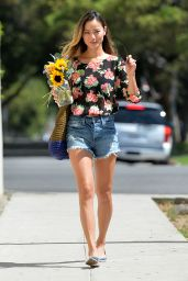 Jamie Chung in Shorts - Shopping at Bristol Farms in LA - July 2014