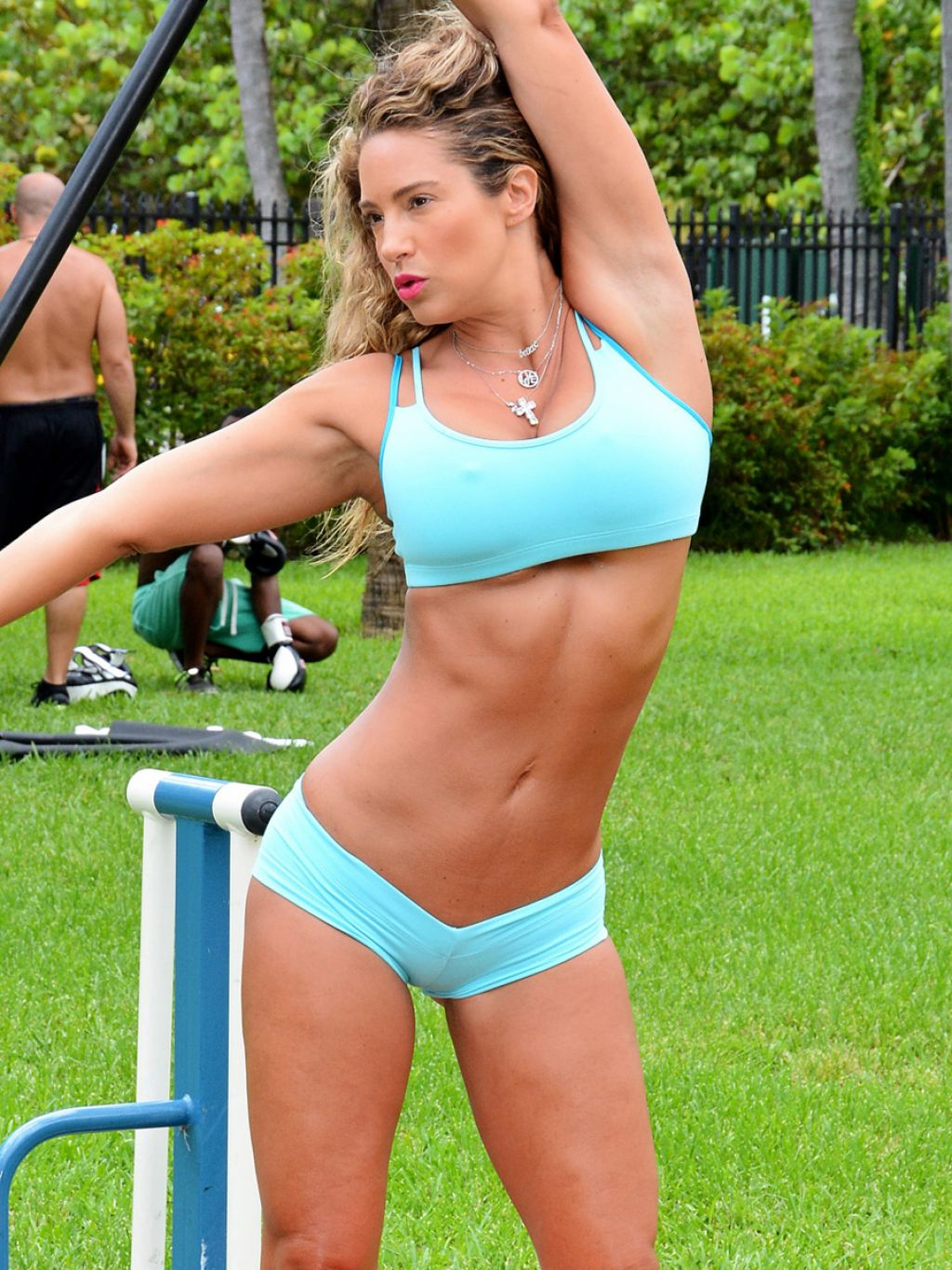 Jennifer Nicole Lee Bikini Candids - Working Out at a Park in Miami July 2014