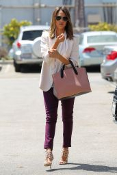Jessica Alba Casual Style - Heads to the Office in Santa Monica - July 2014
