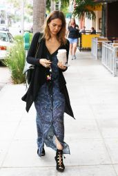 Jessica Alba in Blue Sheer Maxi-Dress - Coffee Bean & Tea Leaf in Beverly Hills - July 2014