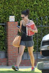 Jordana Brewster in Shorts - Leaving a Gym in Los Angeles - July 2014