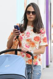 Jordana Brewster Street Style - Shopping With Her Baby in Beverly Hills - July 2014