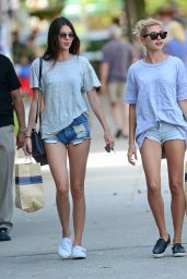 Kendall Jenner & Haylie Baldwin in Denim Shorts - Out in the Hamptons - July 2014