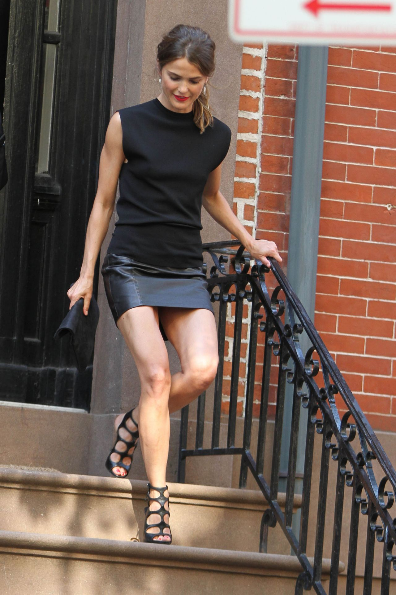 Keri Russell Hot Legs in a Leather Skirt - Leaving Her Home in Brooklyn - July 2014