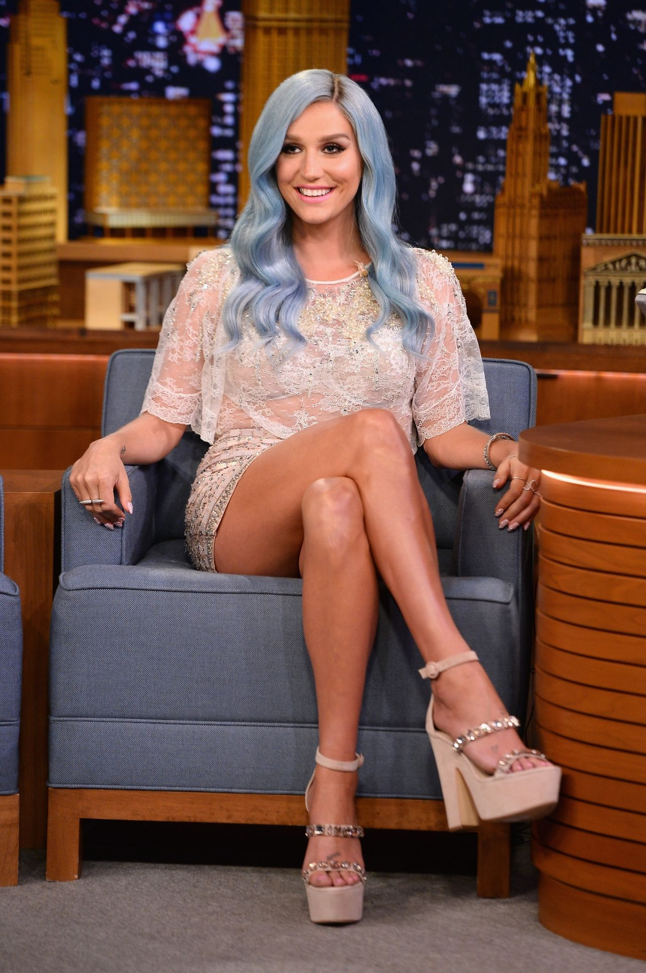 Kesha Appeared On The Tonight Show Starring Jimmy Fallon - July2014-7465
