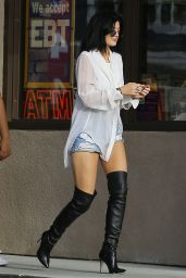 Kylie Jenner in Boots & Denim Shorts - Out in Malibu - July 2014
