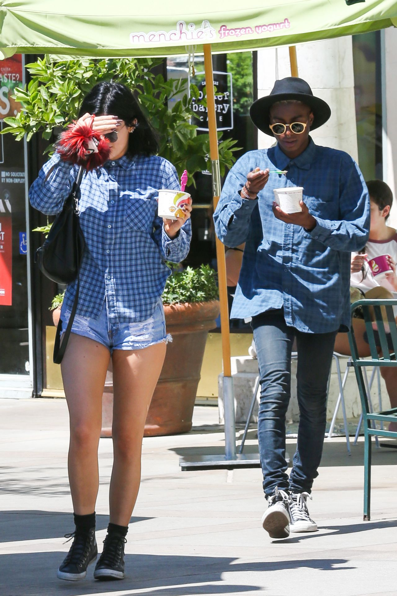 kylie jenner in denim shorts out in calabasas july 2014