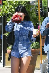 Kylie Jenner in Denim Shorts Out in Calabasas - July 2014