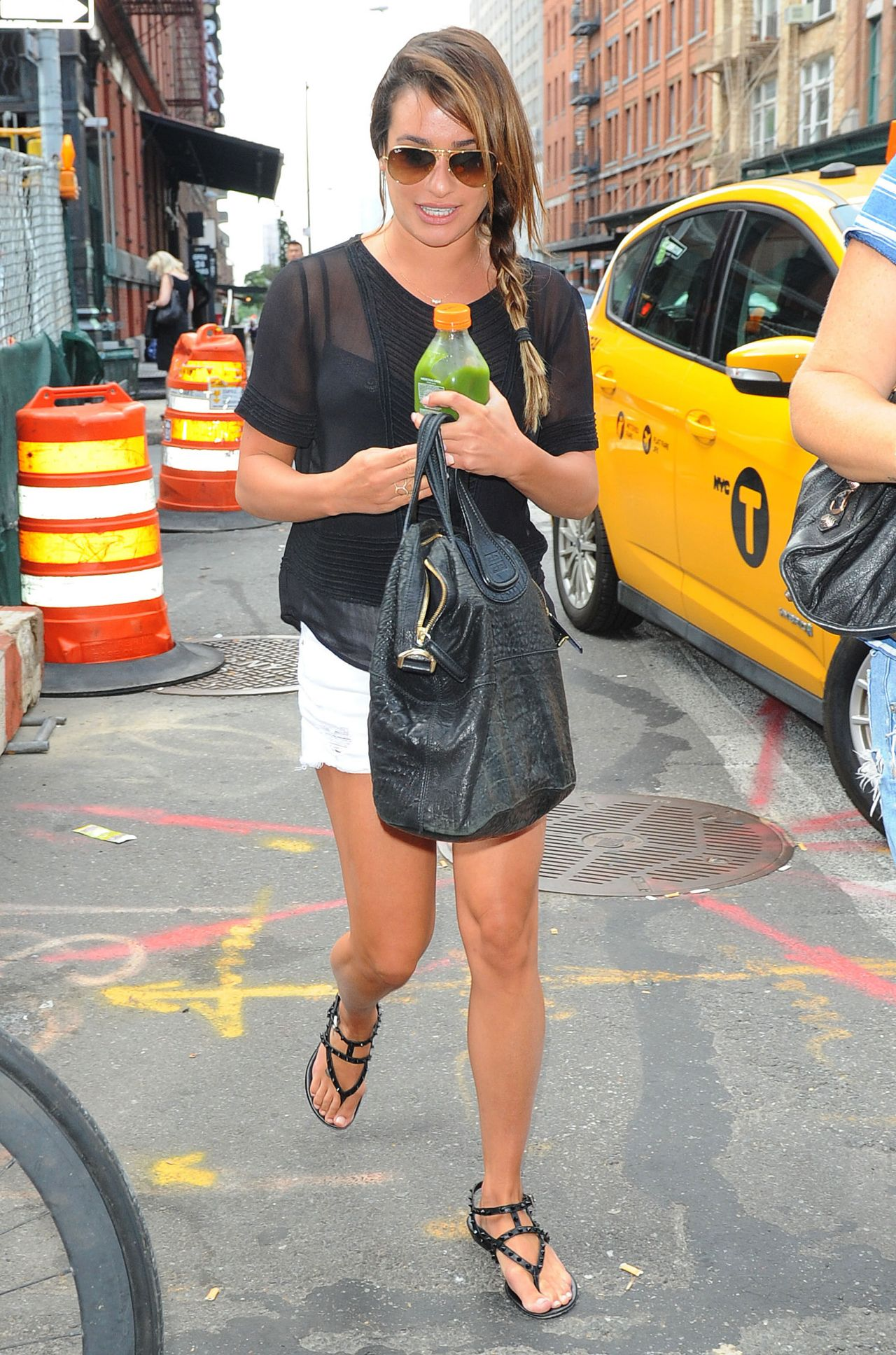 Lea Michele Street Style - Out in Manhattan, July 2014
