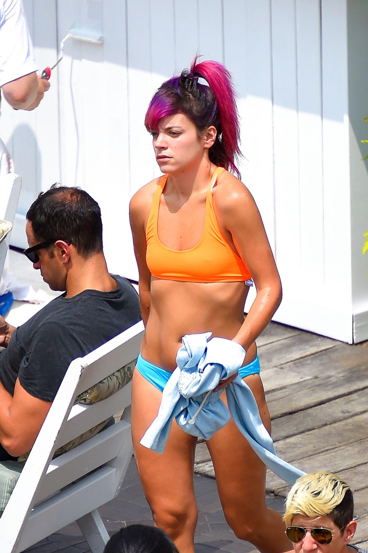 Lily Allen Bikini Candids at a Hotel Pool in New York