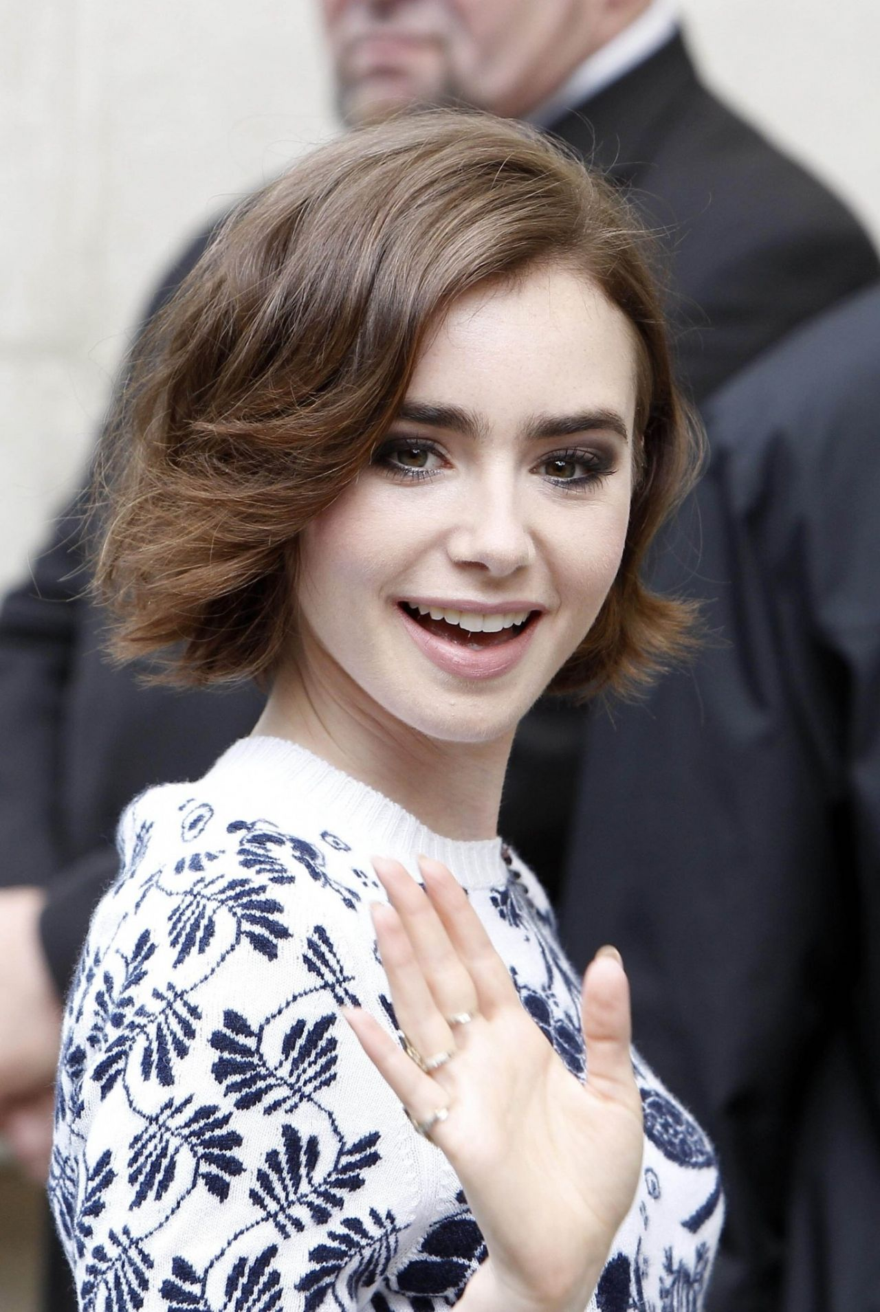 Lily Collins Chanel Front Row Paris Fashion Week