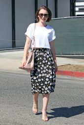 Lily Collins Hair Style - Leaving Andy LeCompte Salon in West Hollywood - July 2014