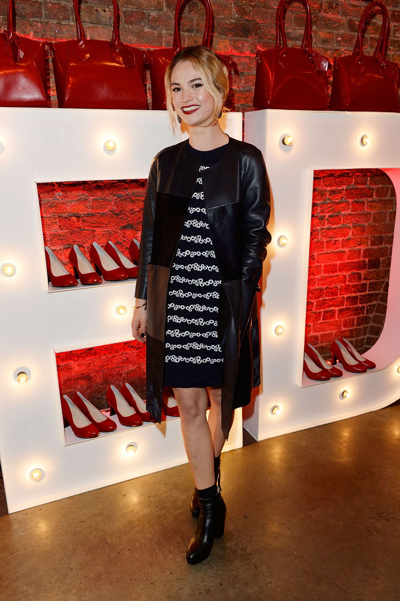 Lily James at Virgin Atlantic's New Vivienne Westwood Punk Chic Uniform Collection in London