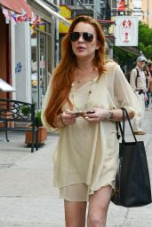Lindsay Lohan Showing Off Her Legs - Out in NYC - July 2014