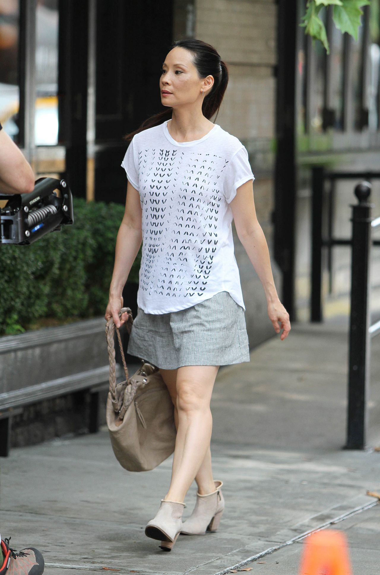 Lucy Liu Casual Style Out In New York City July 2014