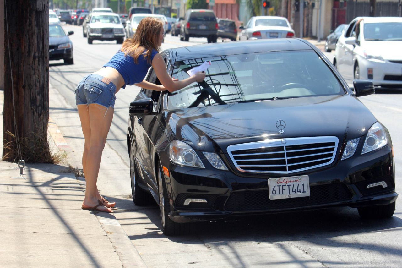 Maitland Ward Getting a Ticket in Hollywood - July 2014