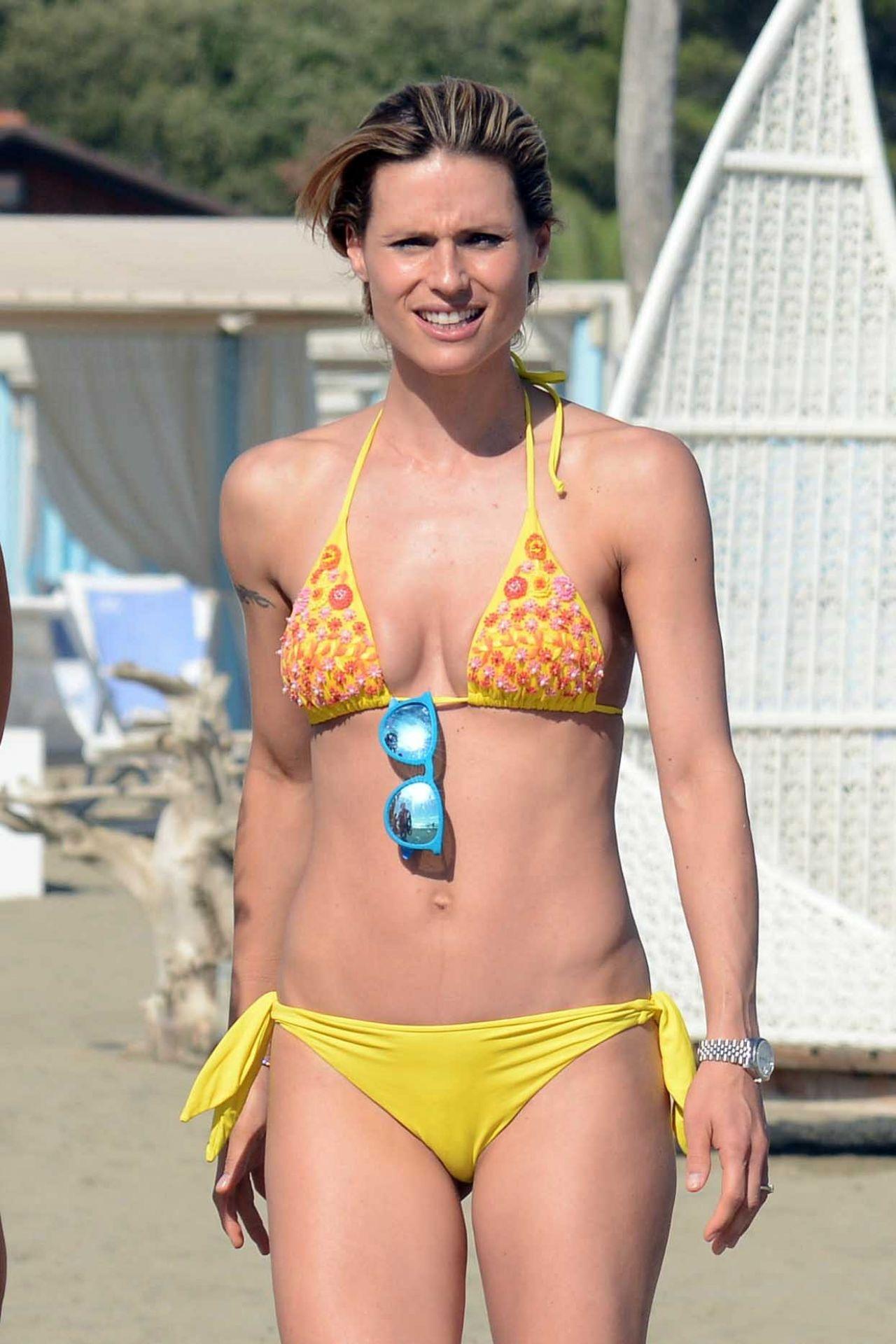 Michelle Hunziker In Yellow Bikini On The Beach In Forte