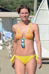 Michelle Hunziker in Yellow Bikini - on the Beach in Forte dei Marmi - July 2014