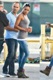 Michelle Rodriguez on the set of Fast 7 (The Fast and the Furious) - July 2014