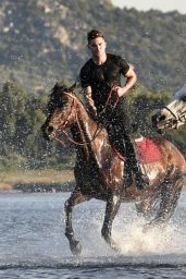 Michelle Rodriguez with Zack Efron in Sardinia - Riding a Horse and Chilling - July 2014