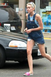 Miley Cyrus in Jean Shorts With Suspenders at a Gas Station in West Hollywood