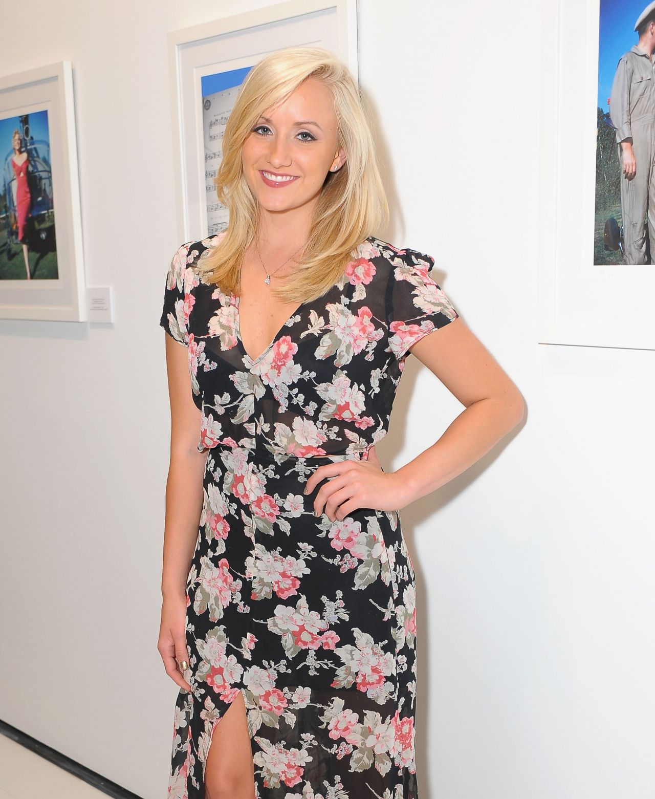 Nastia Liukin in Long Floral Dress -