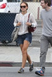 Natalie Portman Looks Stylish in Denim Shorts - Out in Los Feliz, July 2014