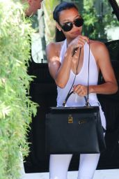 Naya Rivera Shows Off Skinny Body - Arriving at Sunset Towers Hotel in Beverly Hills - July 2014