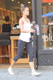 Nina Agdal in Tights - Out in New York City - July 2014