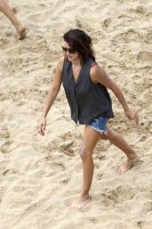 Penelope Cruz in a Red Swimsuit at a Beach in Spain - June 2014