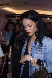 Rihanna in Denim Jacket at Budweiser Party - July 2014