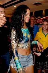 Rihanna in Denim Shorts - Arriving at her Hotel in Rio de Janeiro - July 2014