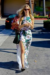 Rosie Huntington-Whiteley in Long Floral Dress - Out in Malibu, July 2014