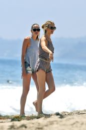 Rosie Huntington-Whiteley in Short Shorts Walking on the Beach in Malibu - July 2014